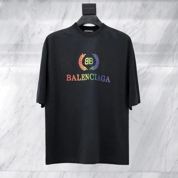 57b8a137a92d Balenciaga Shirts | Black Oversized Rainbow Bb Tshirt | Poshmark